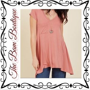 Plus Size Rose Pink Casual Sidetail Tunic